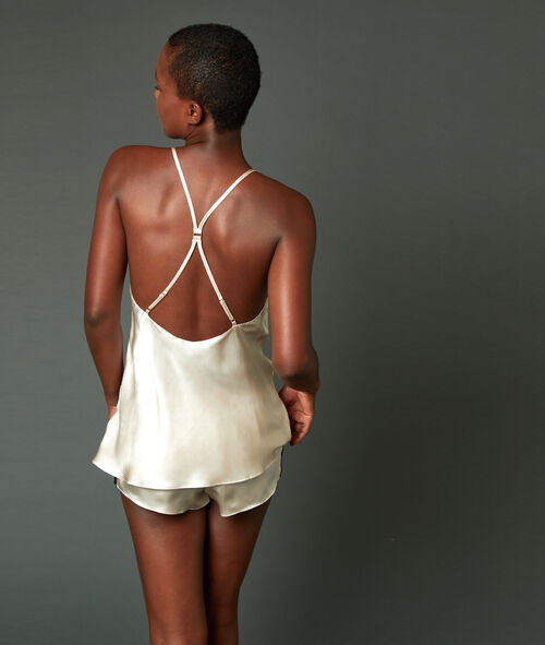 Топ 100% шелк с лямками крест-накрест на спине