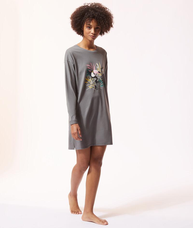 Платье-лонгслив с тропическим принтом;${refinementColor}
