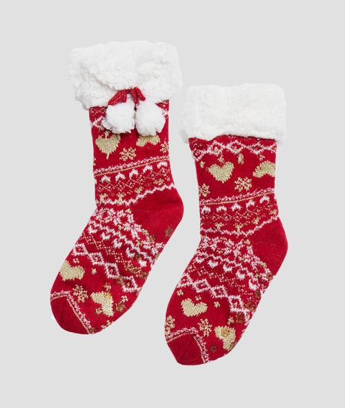 Домашние носки-тапочки с рождественским принтом