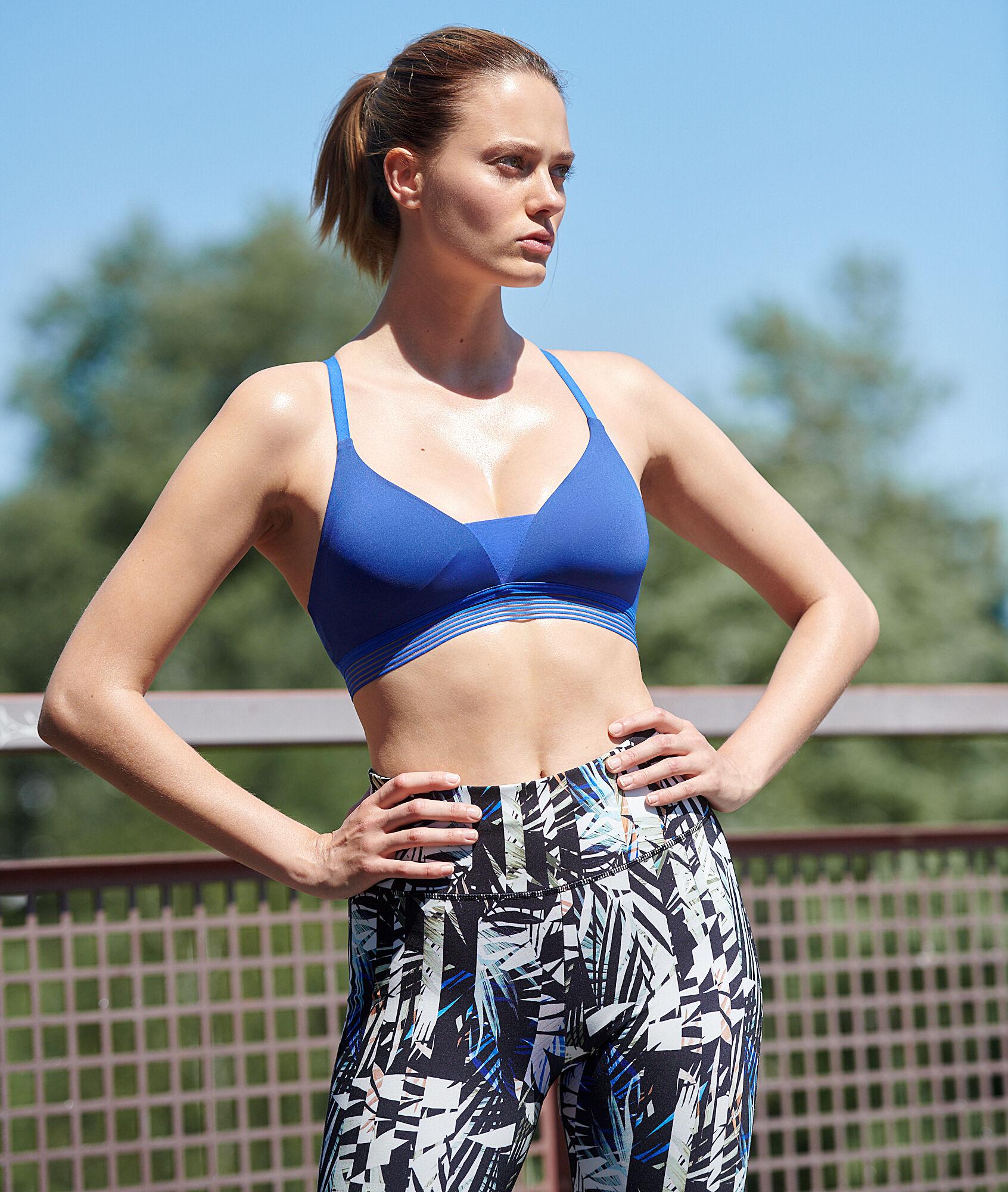 Спортивный бюстгальтер с перекрещенной спиной - легкая поддержка - CHARLINE - Ярко-голубой - L