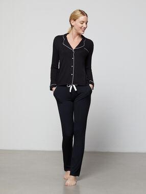 Двухцветные штаны из струящейся ткани черный.