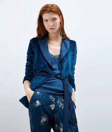 Pyjama 3 pièces satin bleu.