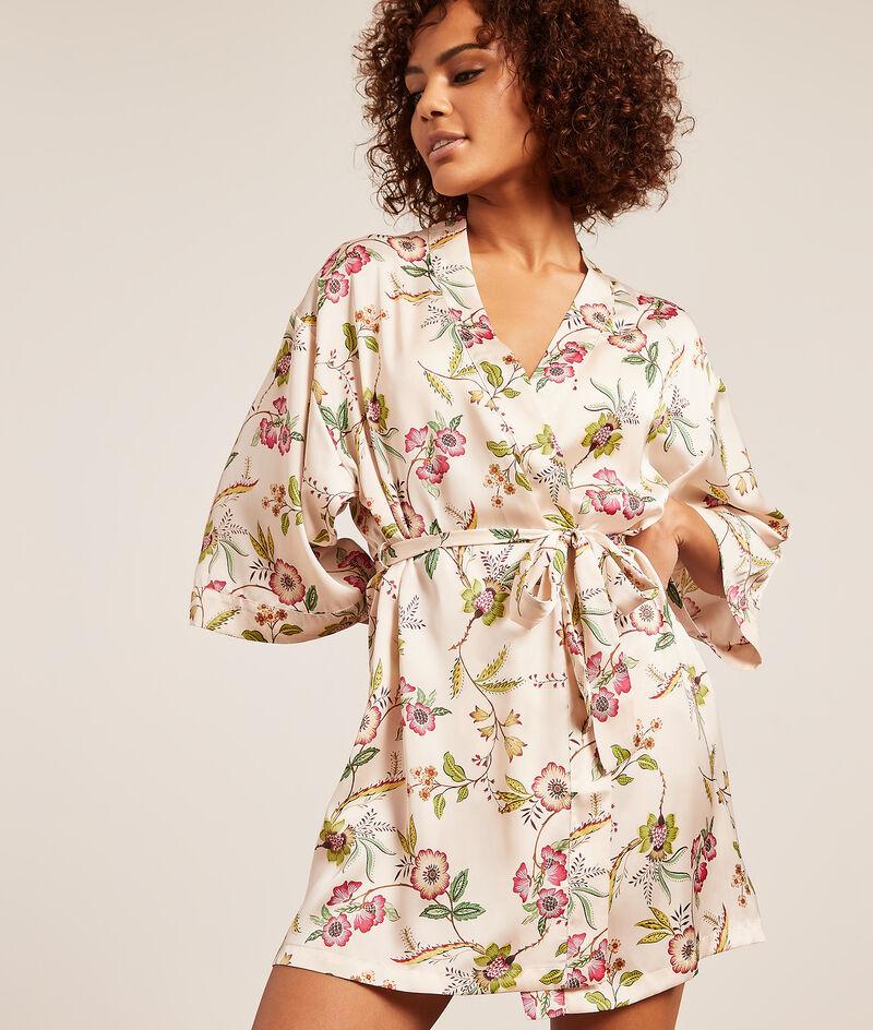 Атласный халат-кимоно с цветочным принтом;${refinementColor}
