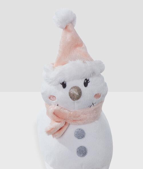 Тапочки без задника - объемные снеговики