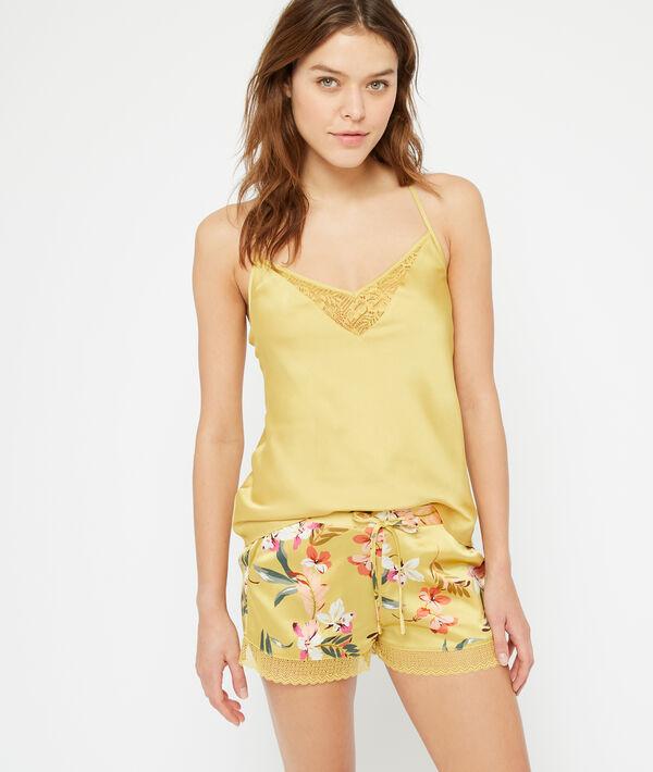 Атласные шорты с цветочным принтом - CARAIBE - Жёлто-оранжевый - M фото