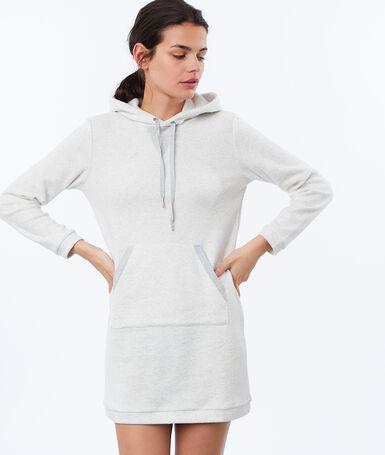 Домашнее платье-толстовка из мольтона экрю.