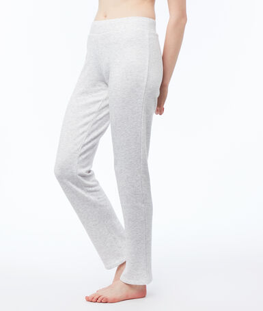 Pantalon homewear chiné gris clair.