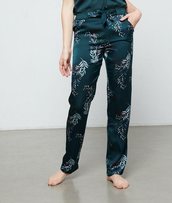 """Атласные брюки с принтом """"листья"""";${refinementColor}"""