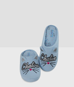 Тапочки с принтом в виде кошки синий.