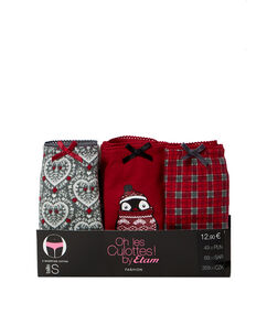 Lot de 3 shortys en coton rouge.