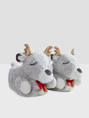 Mules 3d cerfs gris.