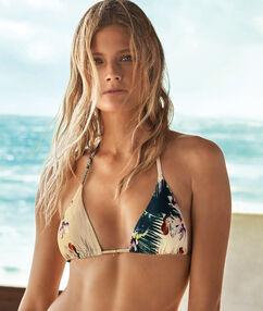 Haut de maillot de bain triangle imprimé floral tropical multicolore.