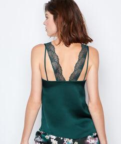 Атласная майка, кружевная спина зелёный.
