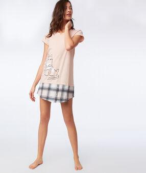 Ночная рубашка с надписями персиковый.