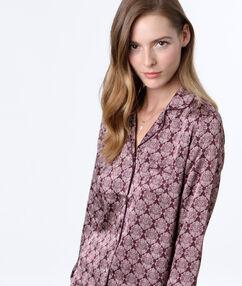 Пижамная рубашка с принтом бордовый.
