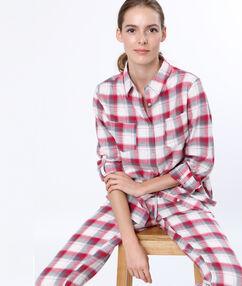 Пижамная рубашка в клетку красный.