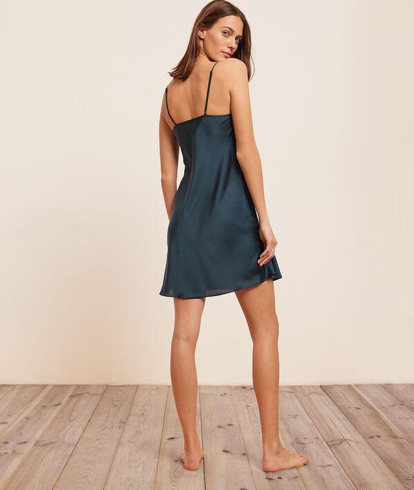 Атласное платье-комбинация с контрастным кружевом;${refinementColor}