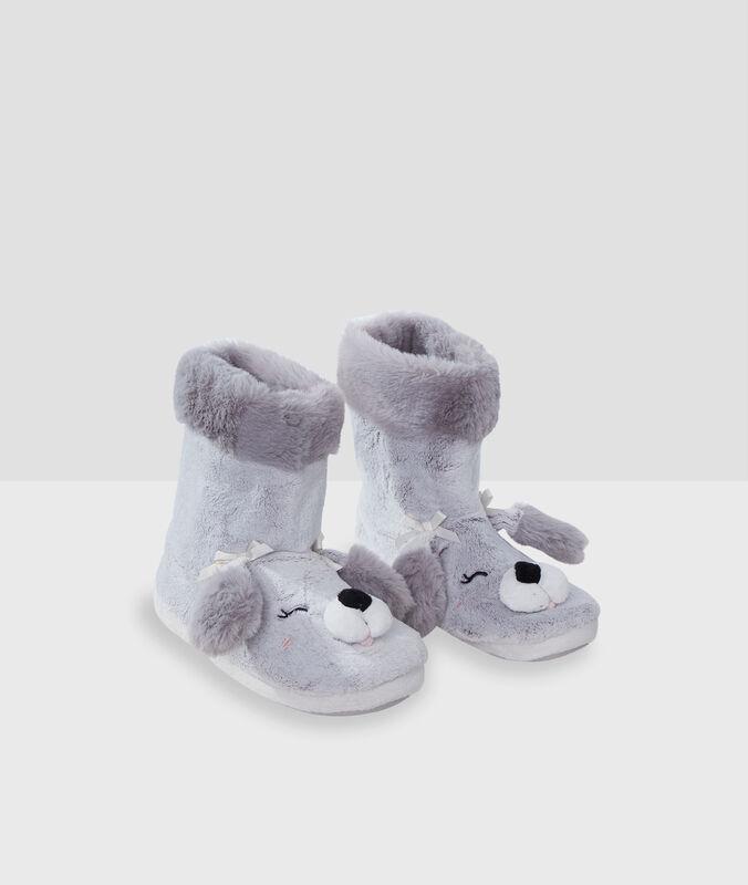 Chaussons bottines chien gris.