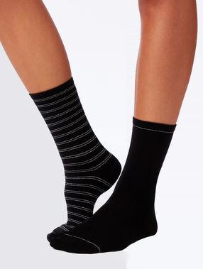 Набор из 2 носков с фантазийным узором черный.