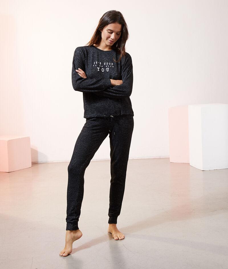 Меланжевые пижамные брюки;${refinementColor}