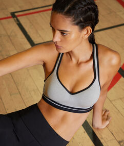 Brassière de sport, effet push-up & dos nageur - maintien médium gris.