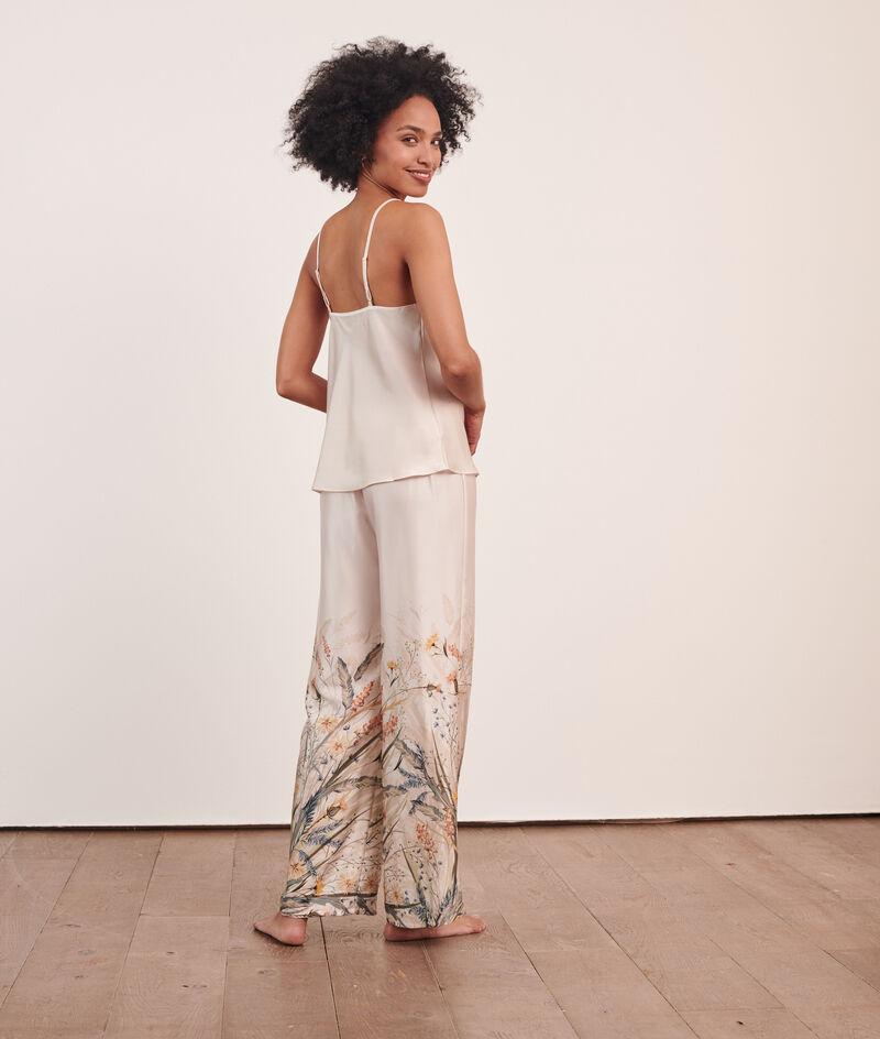 Атласные брюки с цветочным принтом;${refinementColor}