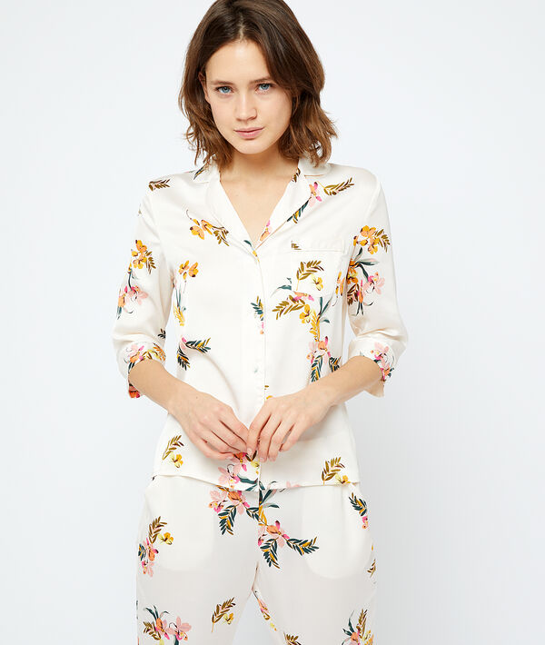 Атласная пижамная рубашка - AMARANTE - Экрю - S фото