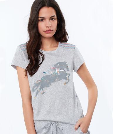Майка с принтом в виде лошади серый.