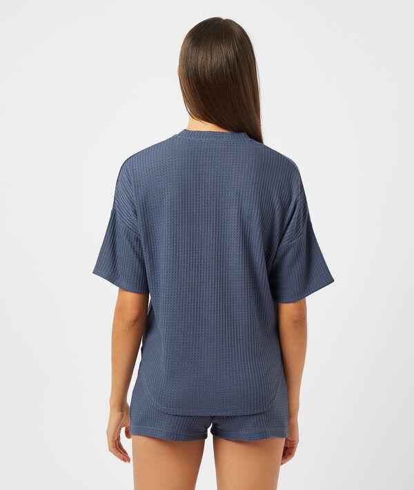 Рубашка из вафельной ткани с завязкой;${refinementColor}