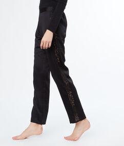 Пижамные брюки из атласа с кружевной отделкой чёрный.
