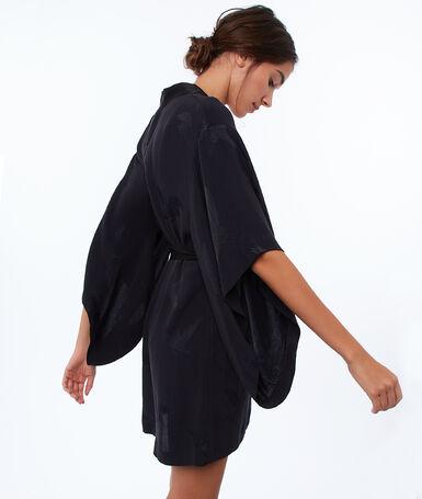 Атласный жаккардовый халат черный.