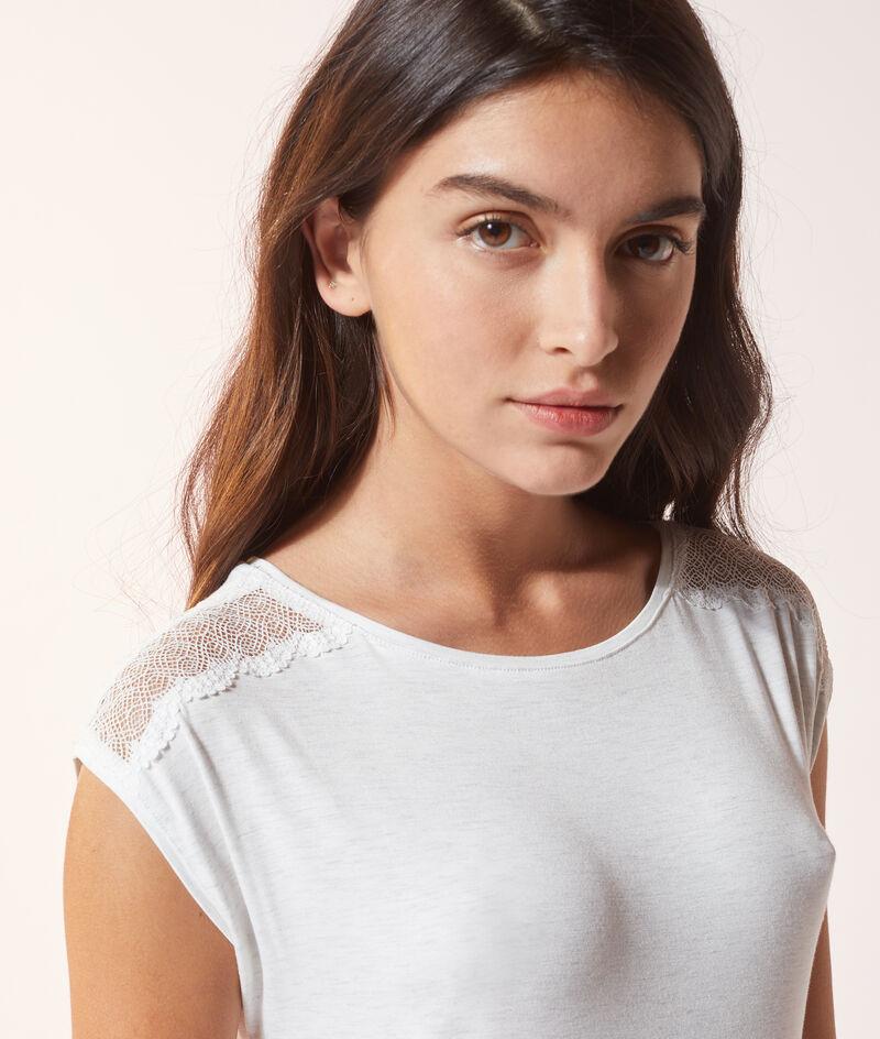 Платье-футболка с кружевной отделкой;${refinementColor}