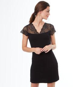 Ночная рубашка с кружевными плечами чёрный.