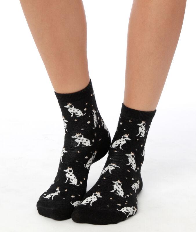Носки с далматинцами черный.