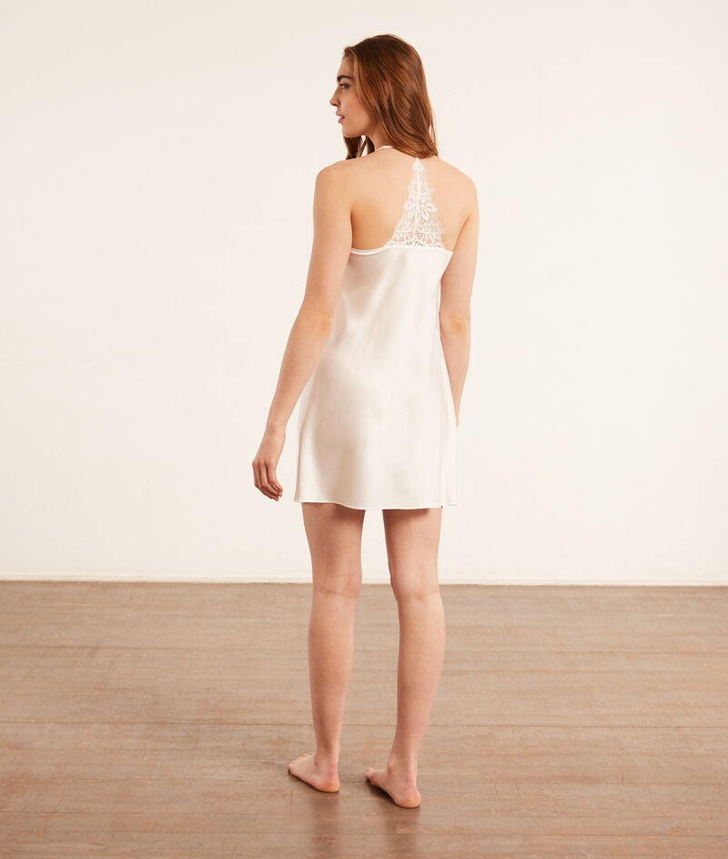 Атласное платье-комбинация с кружевом;${refinementColor}