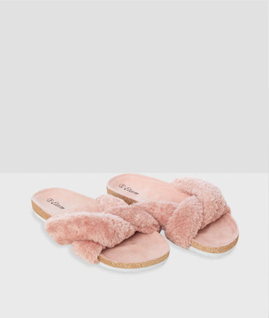 Открытые тапочки розовый.