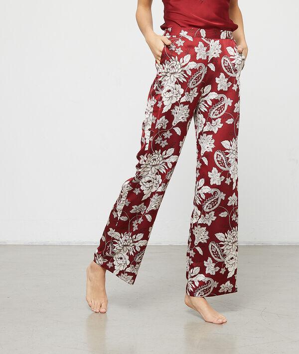 Атласные брюки с цветочным принтом