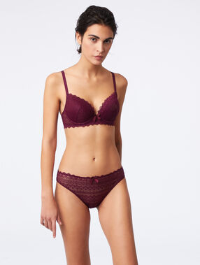 Soutien-gorge n°1 - magic up en dentelle prune.