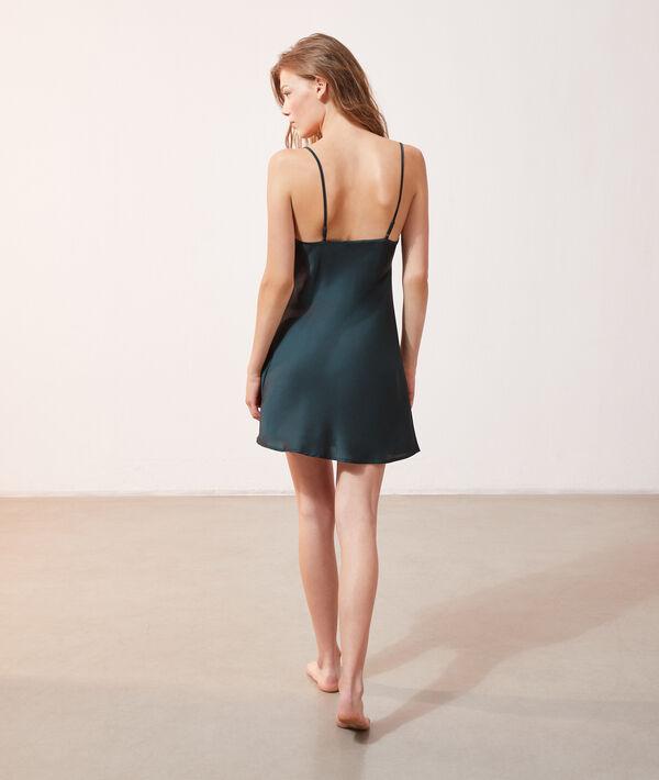 Атласное платье-сорочка с кружевной отделкой;${refinementColor}
