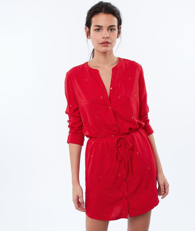 Ночная рубашка с поясом красный.