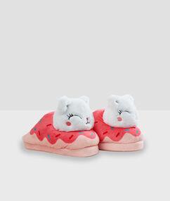 Тапочки с объемными кошками розовый.