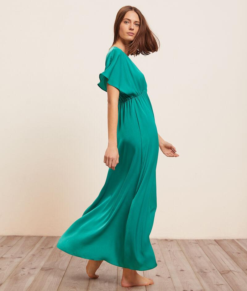 Платье с V-вырезом и рукавами-крылышками;${refinementColor}