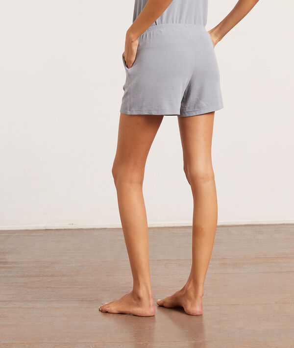 Пижамные шорты в рубчик;${refinementColor}