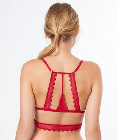 Triangle sans armatures en dentelle, dos nageur rouge.