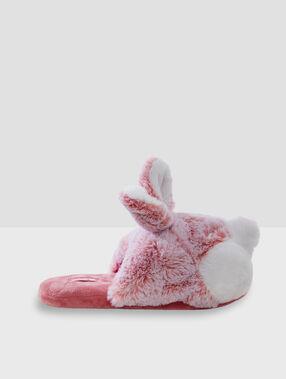 Тапочки с объемными зайцами розовый.