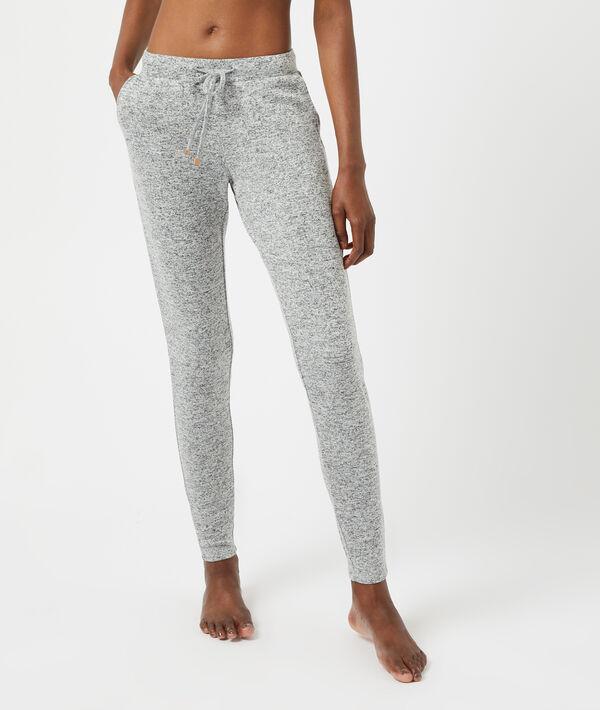 Пижамные брюки из меланжевой ткани;${refinementColor}