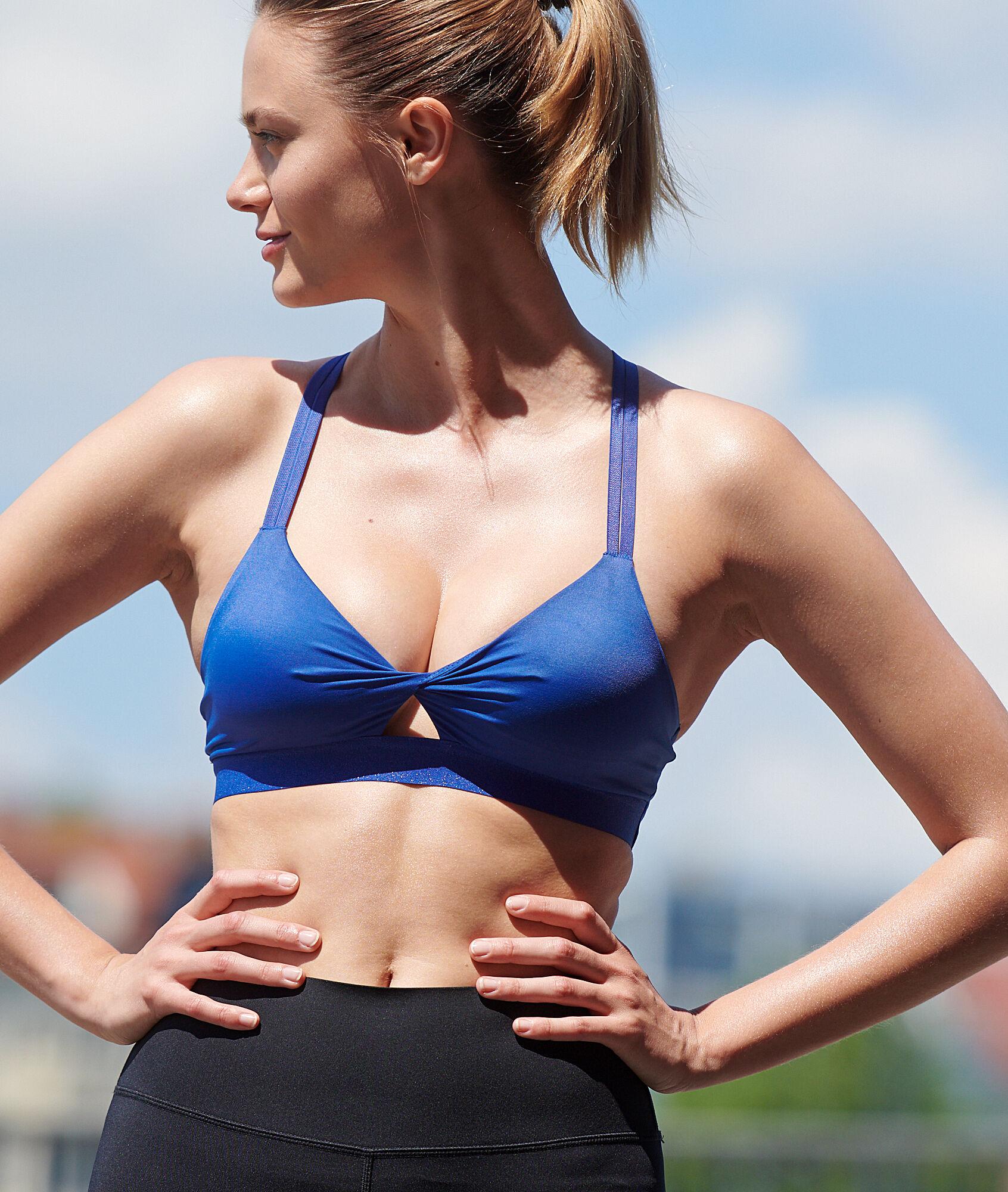 Спортивный бюстгальтер с перекрещенной спиной - легкая поддержка - BLAIR - Ярко-синий - L