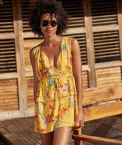 Пляжное платье с v-образным вырезом желтый.