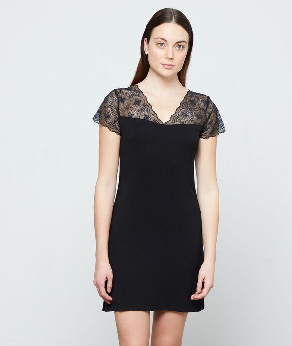 Сорочка с кружевом - LIDDY LACE - Чёрный - XL фото