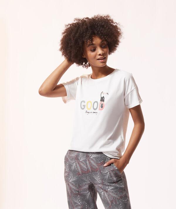 Хлопковая футболка с надписью и принтом;${refinementColor}